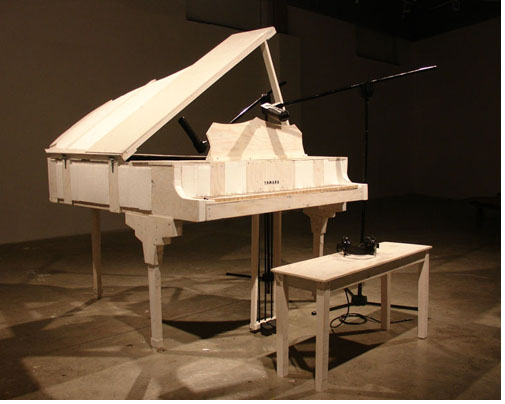 Imagine Piano 2005 Plywood, Styrofoam, String, Latex Paint 5ft x 6ft x 3ft